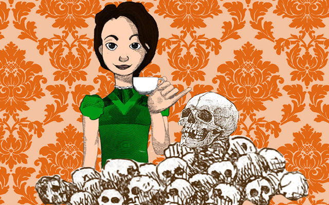 Alice drinking tea behind a pile of skulls - lead image from Alice in Typhoidland exhibition