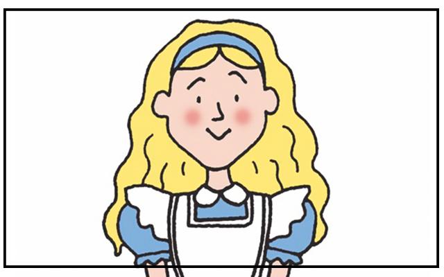 Cartoon headshot of Alice in Wonderland