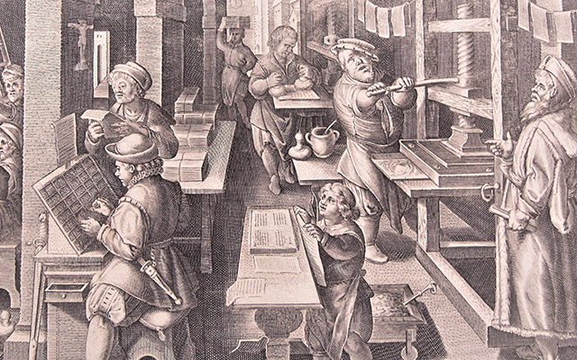 Black-and-white art of an early printing press