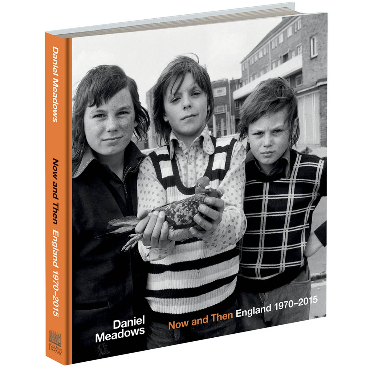 A book cover showing a black and white photograph of three young boys standing next to each other, the central boy holds a pigeon