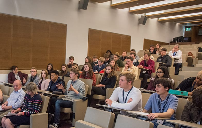 Students during a lecture at the Bodleian Libraries' Lecture Theatre, Oxford