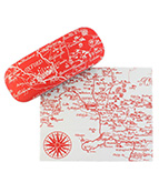 A glasses case and lens cloth with map print