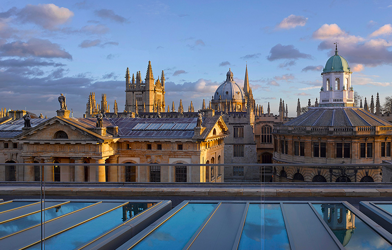 Bodleian Library from the Weston Library roof terrace, Oxford