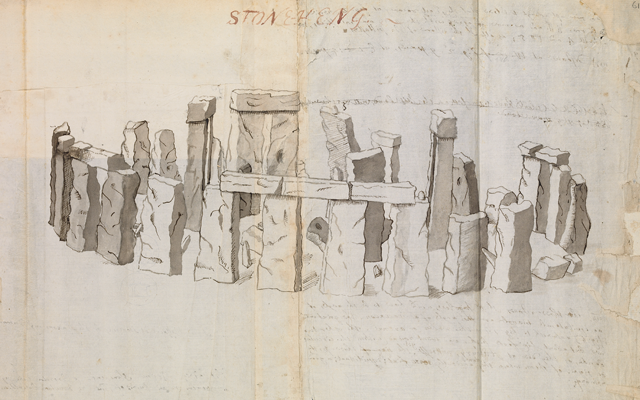 Prospect of Stonehenge from the southwest from William Stukeley's, Stonehenge, a temple restor'd to the British Druids