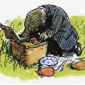 Mole from Wind in the Willows rummages through a picnic hamper