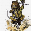 Illustration of Ratty from Toad of Toad Hall dancing a jig