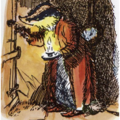 Original E H Shephard drawing of Badger from Wind in the Willows holding a candle