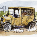 Illustration of Toad of Toad Hall driving an old-fashioned car