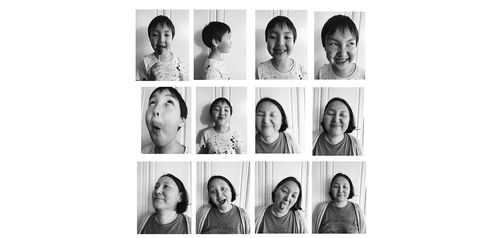 12 passport photo size images, six showing a young child and six showing a woman. In each photo the individual is looking in a different direction and has a different expression