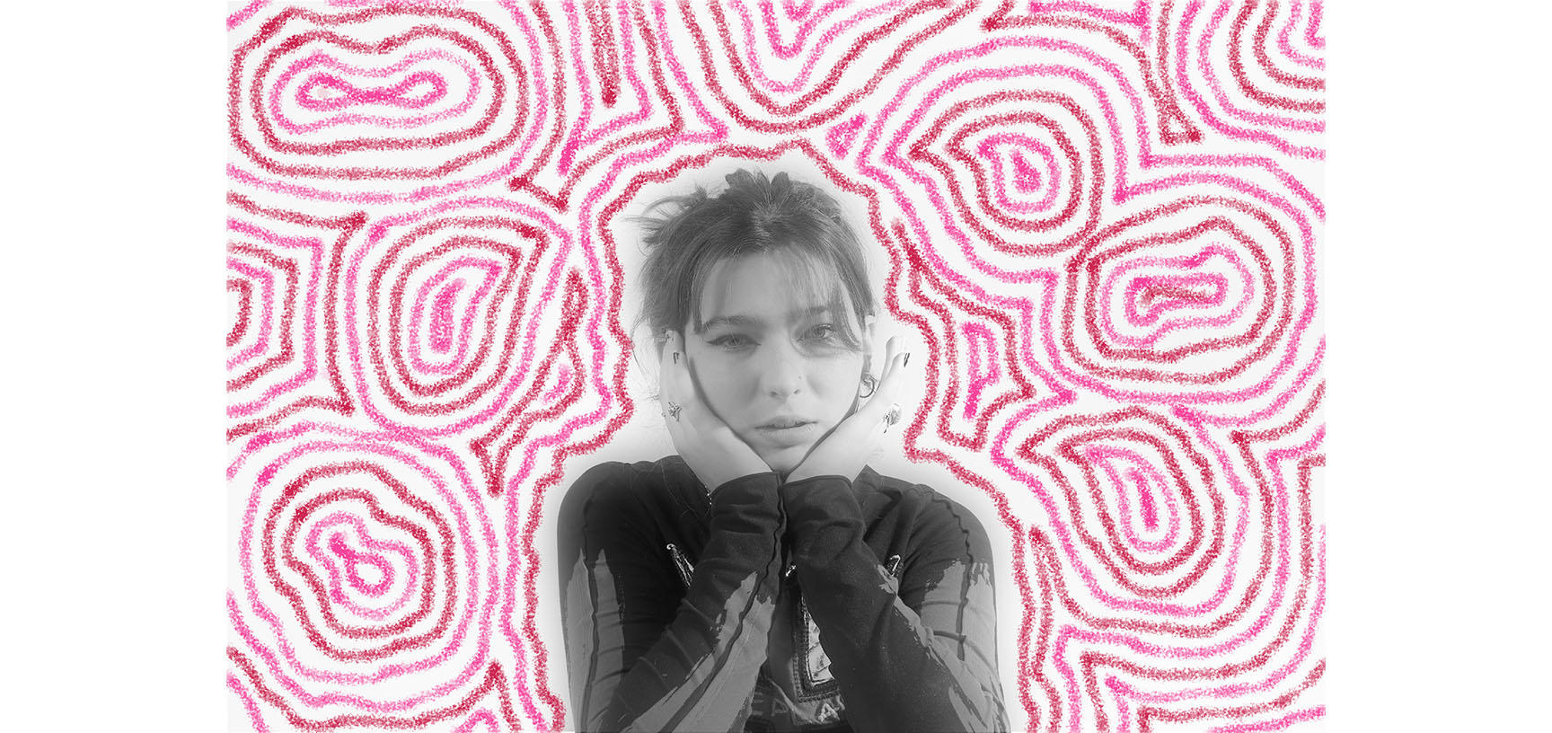 Black and white photograph of a woman propping her chin on her hands. This is overlaid on a pink patterned background