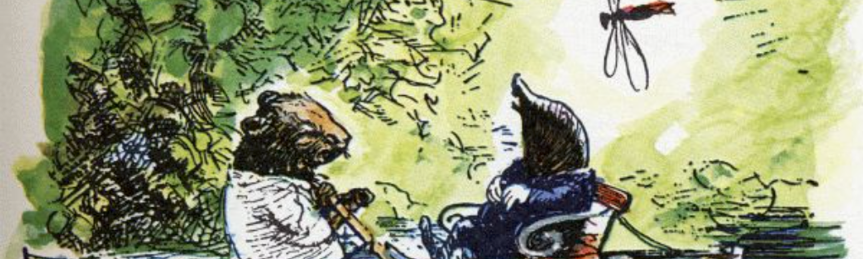Illustration of Mole and Ratty rowing on a river