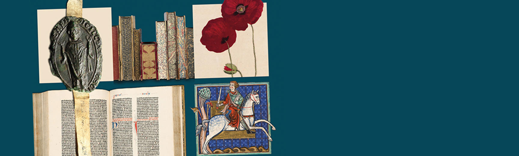 Composite image of Bodleian treasures: manuscript extracts, illustration of poppies, wax seal
