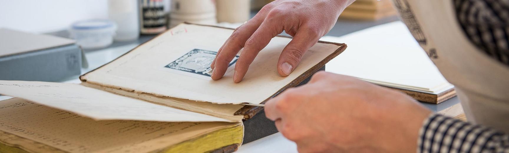 Book spine repair, Bodleian Libraries, Oxford