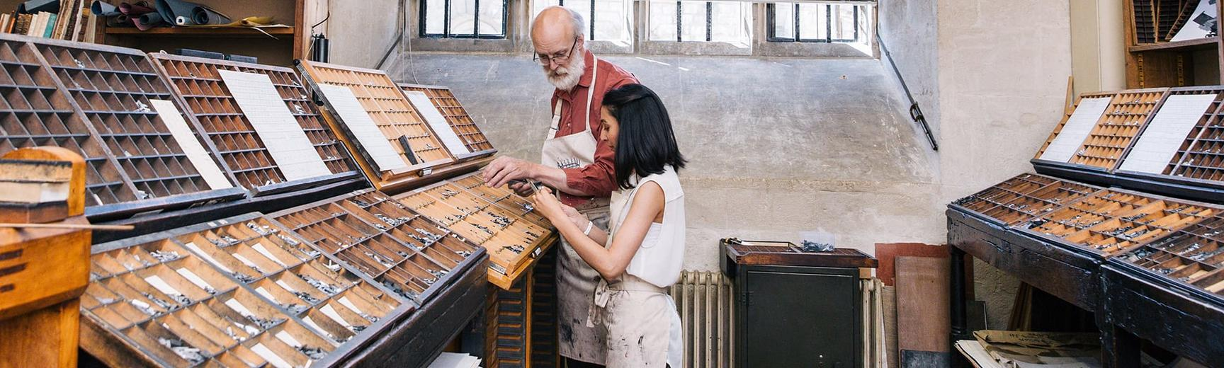 Historic letterpress printing workshop at the Bodleian Libraries, Oxford