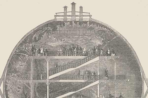The front cover of the book 'Cartography: the ideal and its history' with a drawing depicting a globe and a scaffold in front with people climbing the steps to view the globe