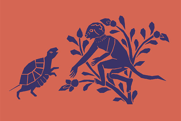 An illustration of a tortoise looking at a monkey