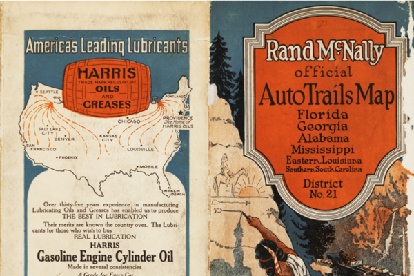 Image of the back and front cover of a travel map of the southern states of the United States, the front includes an illustration of an American Indian painting an arrow on a rock.