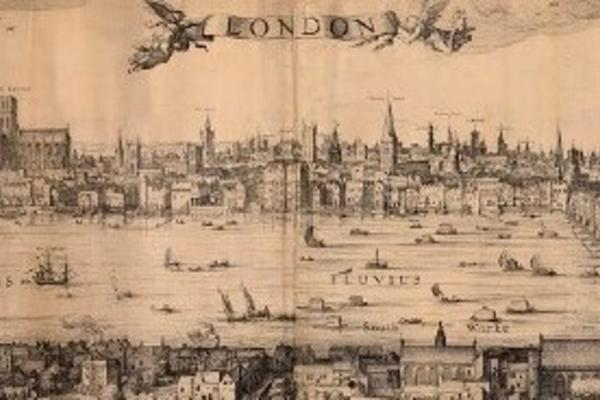 Panoramic view of 16th century London, looking across London Bridge from Southwark.