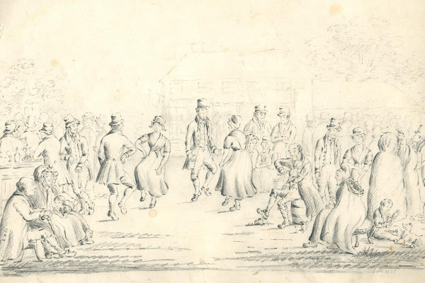 Black-and-white drawing of people dancing