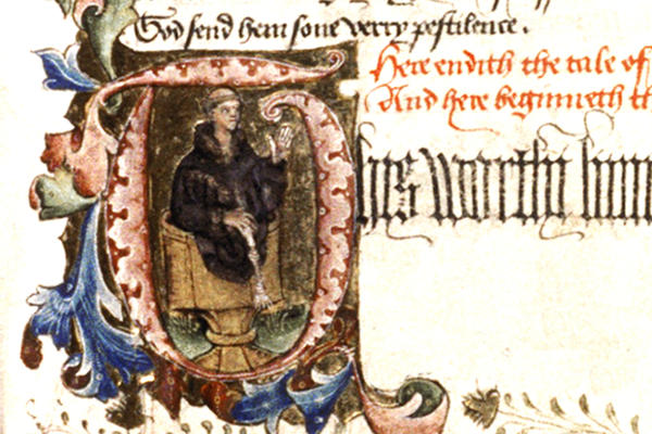 Manuscript detail showing an illuminated letter with a drawing of a man