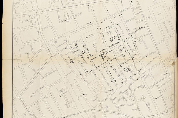 Map of central London showing cholera cases