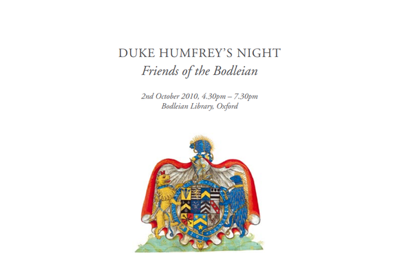 Front cover of the Duke Humfrey's Night catalogue
