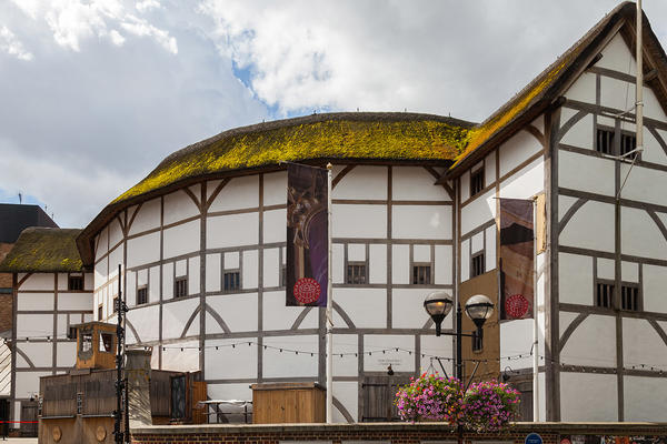 A round white building with exposed timbers