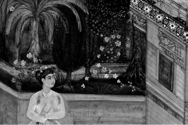 Image of the singer on the balcony, illustration to the Fifth 'Garden' (on Love) of the Baharistan of Jami (Mughal 1595)