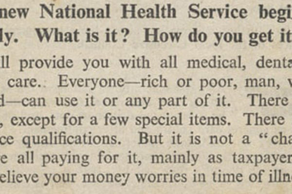 Opening of a pamphlet announcing the introduction of the NHS