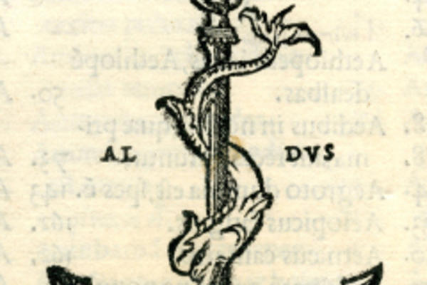 Black-and-white illustration of an anchor with text: 'Aldus'