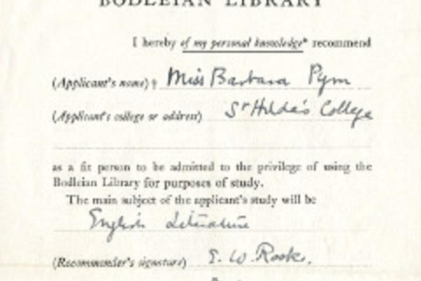 Written recommendation to the Bodleian Library for Barbara Pym