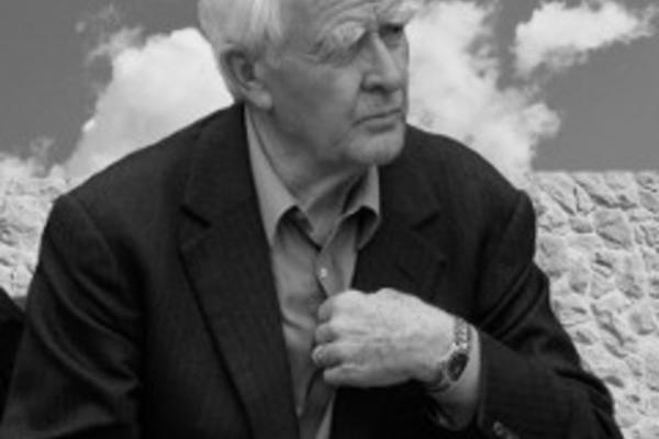 Black-and-white photograph of John le Carré