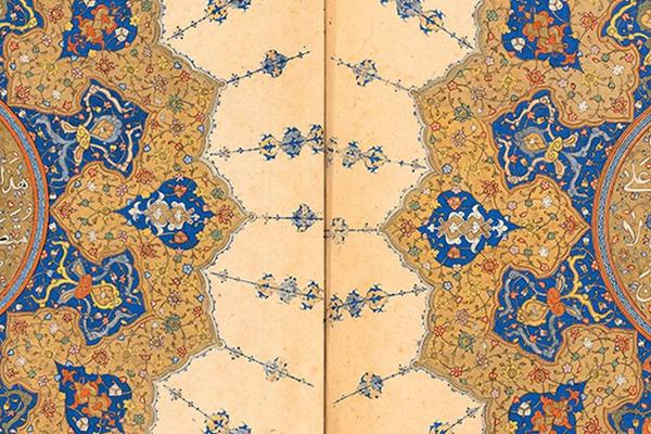 An illustration in gold and blue