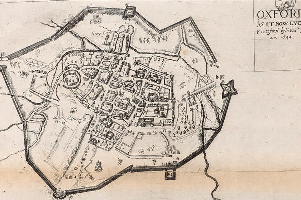 A map from 1644 showing the city of Oxford as it was then surrounded by fortifications