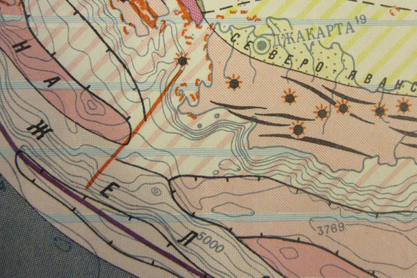 Detail of a Soviet-made map showing the tectonic plates, fault lines and earthquake zones of the Earth