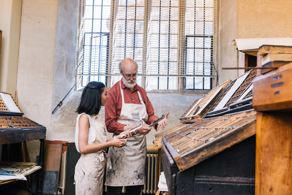 Historic letterpress printing workshop at the Bodleian Libraries