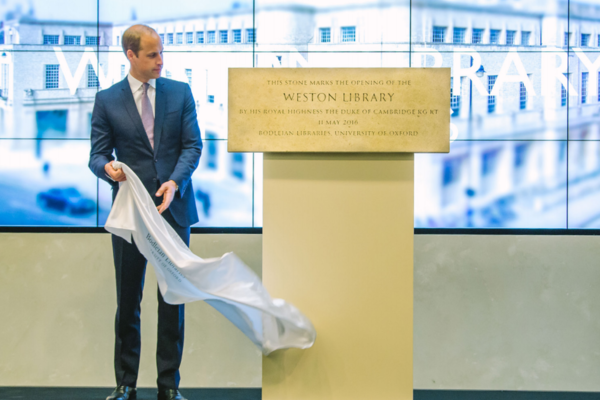 HRH The Duke of Cambridge unveils a plaque to mark the major transformation of the Weston Library
