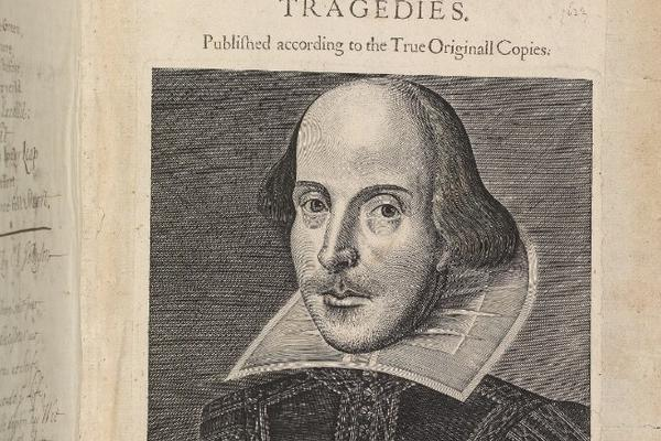 A drawing of Shakespeare in an old book