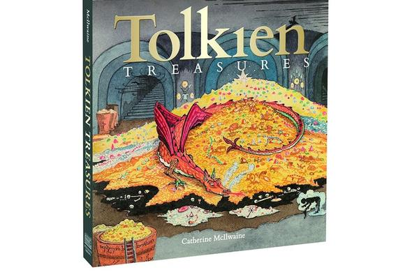The book cover of Tolkein Treasures showing an illustration of Smaug the dragon