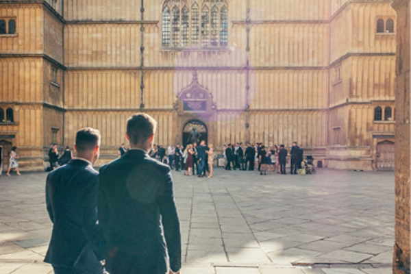 Wedding party in historic quadrangle