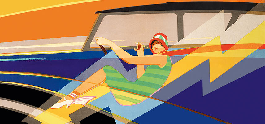 Abstract poster of women and Morris Oxford car