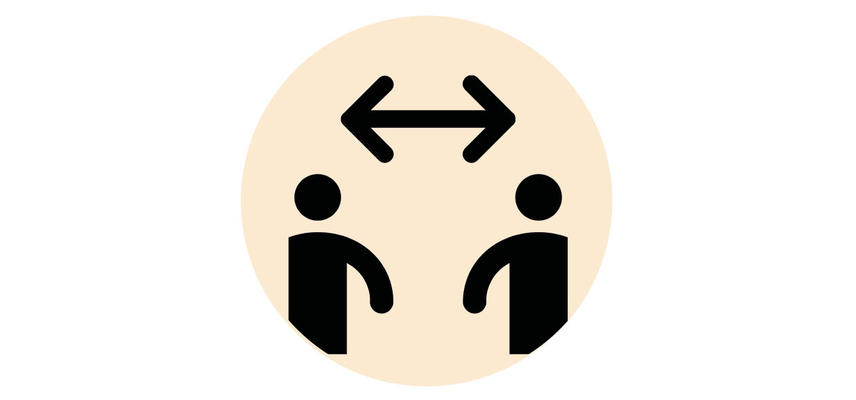 Two people with distance arrow between them icon