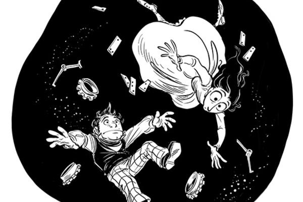 Comic-style image of a boy and girl falling through space