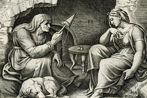 Engraving of two people sitting with a dog, Cupid and Psyche