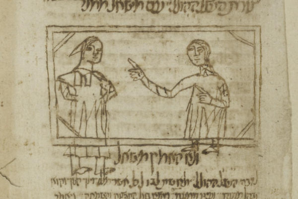 Page with hand-drawn diagram of two figures and writing