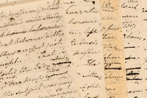 Closeup of hand written notes from The Watsons by Jane Austen