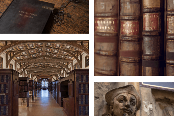 Composite image: spines of old books and interior of Duke Humfrey's Library