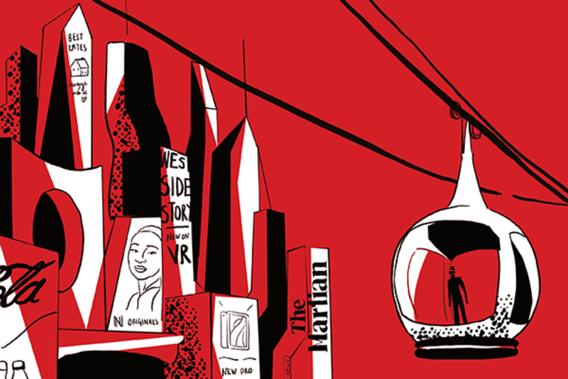 Detail of an abstract illustration of books in red, white and black tones, taken from Who Writes the Future? An anthology of short stories