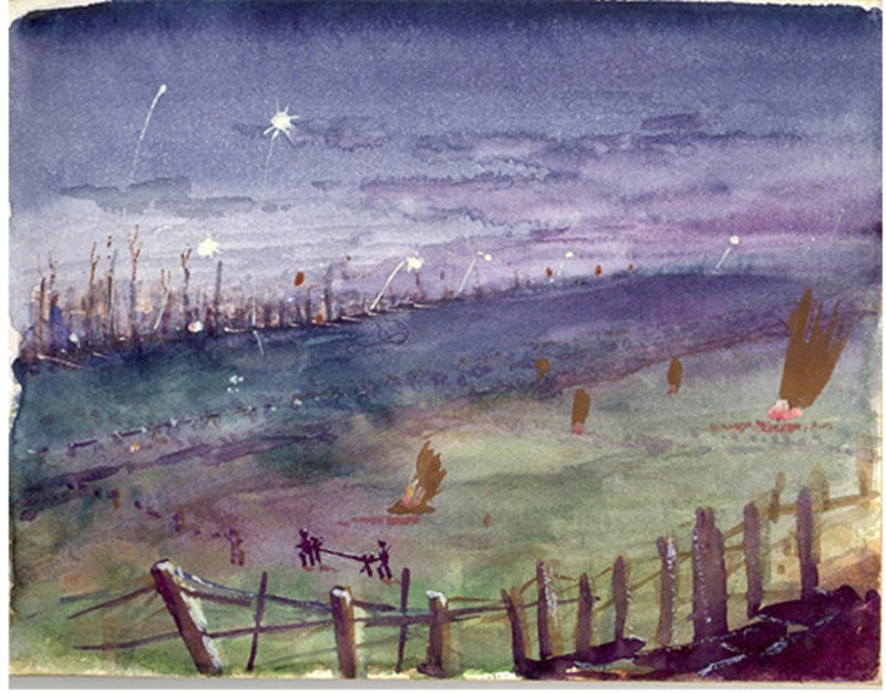 Image of a painting of a WWI battlefield