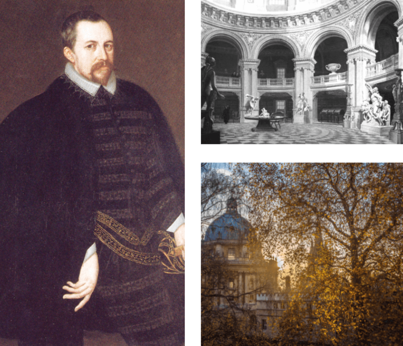 Composite image: painting of Thomas Bodley, old photograph inside Radcliffe Camera and sun setting behind the Radcliffe Camera